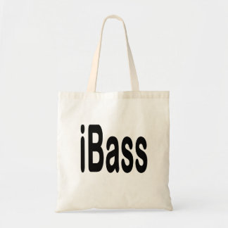 ibass music design black text tote bag
