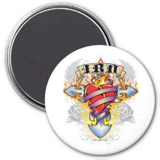 IBD Cross & Heart 3 Inch Round Magnet