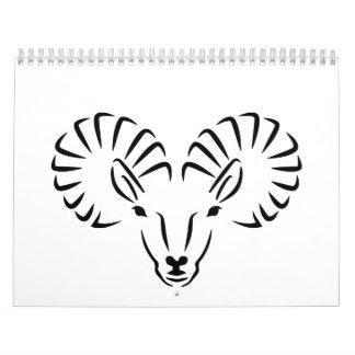 Ibex head horns calendars