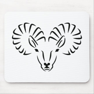 Ibex head horns mouse pad