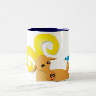 Ibex ram and bird Two-Tone coffee mug