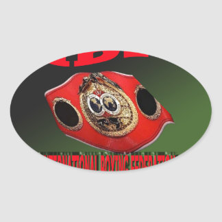 IBF Championship Boxing Belt With Etnic Background Oval Sticker