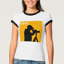 Ladies Ringer T-Shirt with iBird Orange design