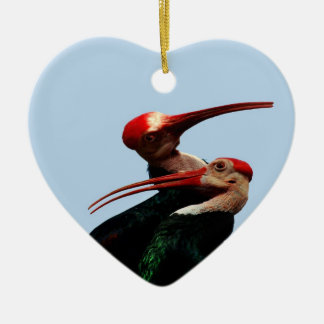 Ibis Bird Forever Love Double-Sided Heart Ceramic Christmas Ornament