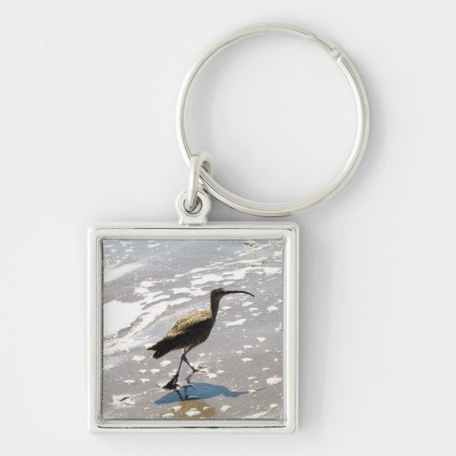 Ibis on the Beach Silver-Colored Square Keychain
