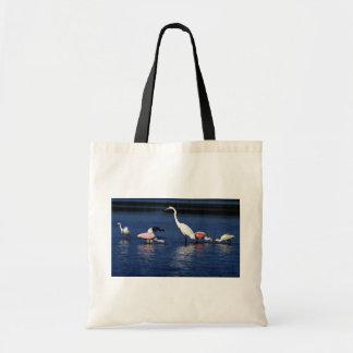 Ibis, spoonbills, gran egret, garza azul y nieve bolsa de mano