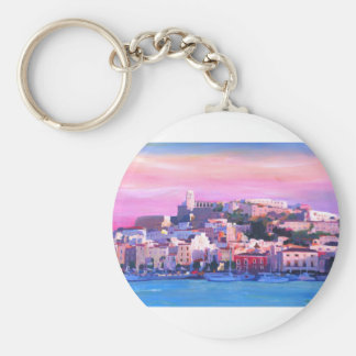 Ibiza Eivissa Old Town And Harbour Pearl Keychain