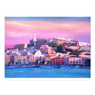 Ibiza Eivissa Old Town And Harbour Pearl Postcard