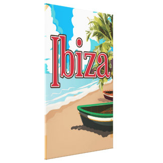 Ibiza vintage travel poster stretched canvas prints