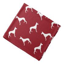 Ibizan Hound Silhouettes Pattern Red Bandana