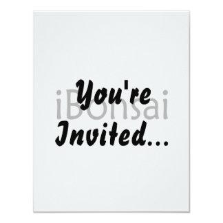 iBonsai black text bonsai design funny Personalized Invitation