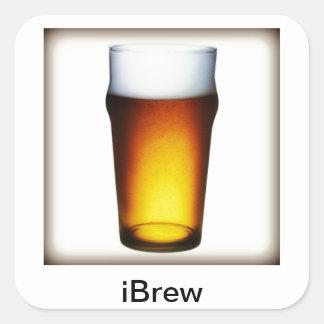 iBrew Ale Glass Square Sticker