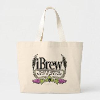 iBrew Beer and Wine Large Tote Bag