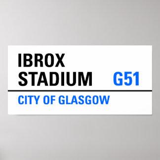 Ibrox Stadium Street Sign Poster