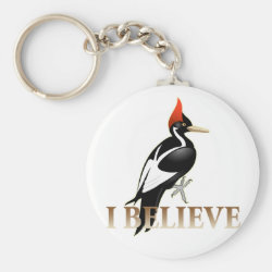 Basic Button Keychain with I Believe design