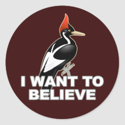 Round Sticker with I Want To Believe design