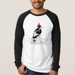 Men's Canvas Long Sleeve Raglan T-Shirt with I Want To Believe design
