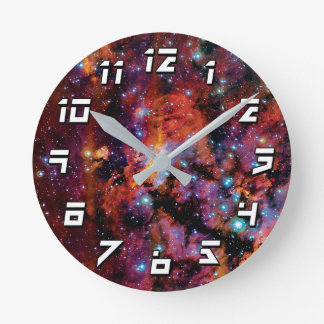 IC 4628 Prawn Nebula - Colorful Outer Space Photo Round Clock
