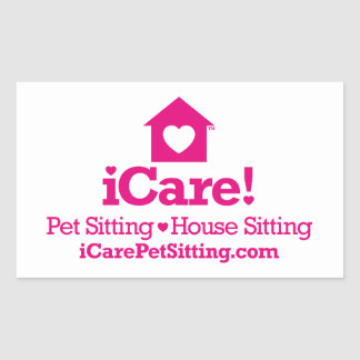¡iCare! - iCarePetSitting.com Rectangular Pegatina