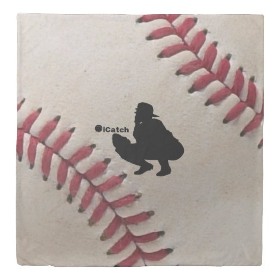 iCatch Player Silhouette On Baseball Background Duvet Cover