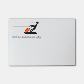 ICD-10: V91.07 Burn due to water-skis on fire Post-it® Notes