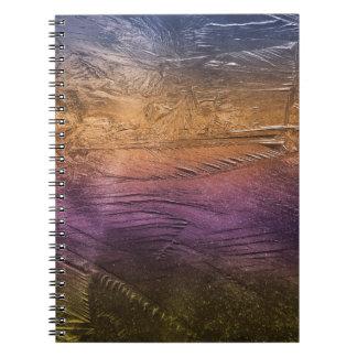 ice-709301 ICE CRYSTALS ORANGE PURPLE COPPER BACKG Spiral Note Book