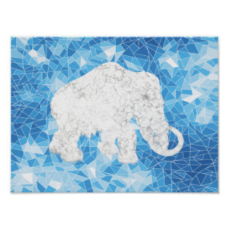Ice Age Blue Crystal Mammoth Print