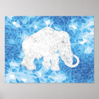 Ice Age Blue Crystal Mammoth Print