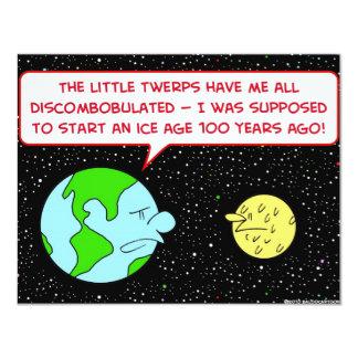 "ice age earth moon discombobulated 4.25"" x 5.5"" invitation card"