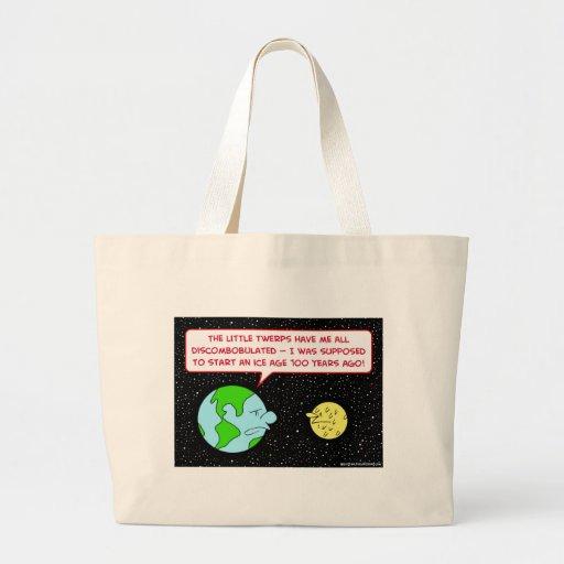 ice age earth moon discombobulated large tote bag