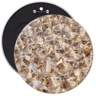 Ice Amber Diamond Crystals Glitter Bling 6 Inch Round Button