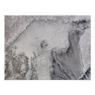 Ice and cloud streets in the Sea of Okhotsk Print
