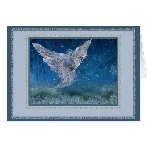Ice Angel greeting card, blue frame trim