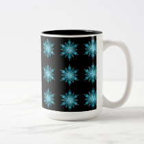 Ice Blue and Black Snowflake Pattern Coffee Mug
