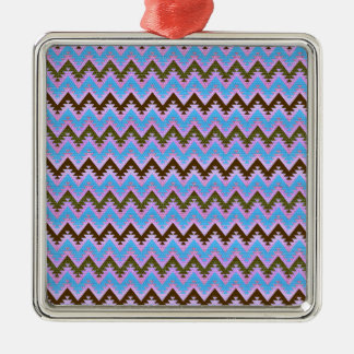 Ice Blue and Brown Aztec Chevron Stripes Metal Ornament