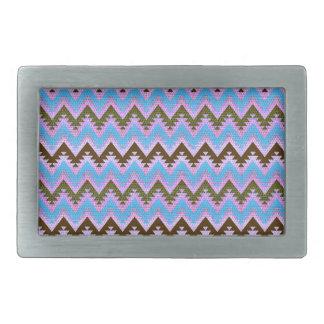 Ice Blue and Brown Aztec Chevron Stripes Rectangular Belt Buckle