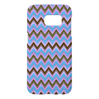 Ice Blue and Brown Aztec Chevron Stripes Samsung Galaxy S7 Case