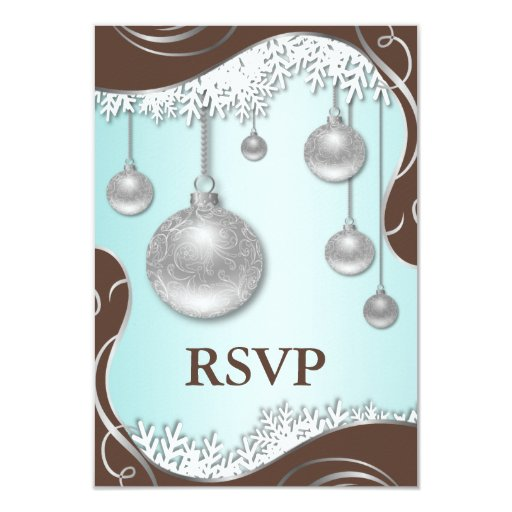 Ice Blue Brown Silver Winter Wedding RSVP Cards