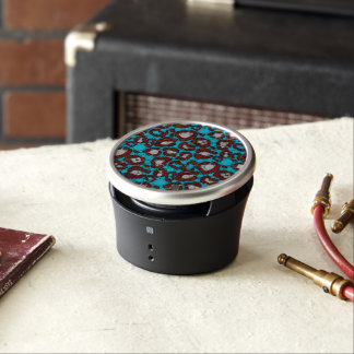 Ice Blue Burgundy Cheetah Abstract Bluetooth Speaker