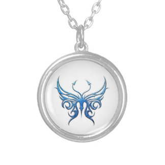 Ice blue butterfly necklace! round pendant necklace