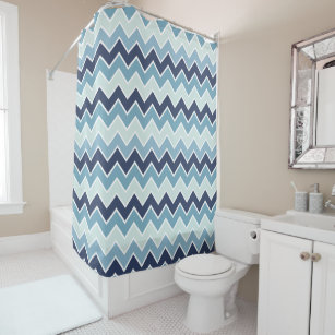 Ice Blue Chevron Print Shower Curtain