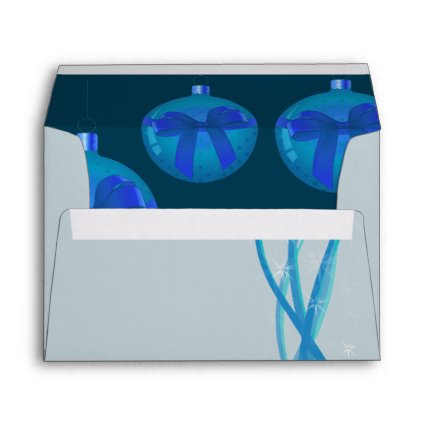 Ice Blue Christmas Baubles Envelope