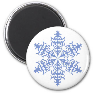 Ice Blue Christmas Winter Snowflake 2 Inch Round Magnet
