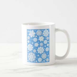 Ice Blue Christmas Winter Snowflake Pattern Coffee Mugs