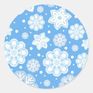 Ice Blue Christmas Winter Snowflake Pattern Classic Round Sticker