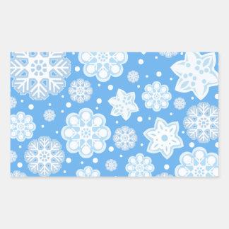 Ice Blue Christmas Winter Snowflake Pattern Rectangular Sticker