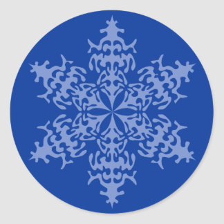 Ice Blue Christmas Winter Snowflake Classic Round Sticker