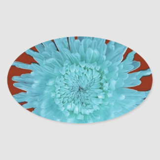 Ice Blue Chrysanthemum Brown Gifts by Sharles Oval Sticker