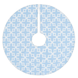 Ice Blue Cross Section Pattern Brushed Polyester Tree Skirt