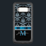 "Ice Blue Damask Monogram OtterBox Commuter Samsung Galaxy S8 Case<br><div class=""desc"">Add a little bling to her life with this exquisite phone case featuring a pretty ice blue and black damask pattern on the top of the case, and her monogram and name in bright blue and white on the bottom. The two sections are separated by a matching blue faux ribbon...</div>"